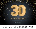anniversary 30. gold 3d numbers.... | Shutterstock .eps vector #1310321857