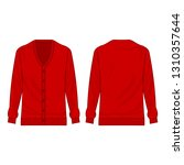 Red Basic Cardigan With Buttons ...