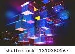 neon light. blockchain...   Shutterstock . vector #1310380567