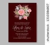 wedding invitation floral...   Shutterstock .eps vector #1310386807
