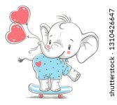 Stock vector hand drawn vector illustration of a cute baby elephant with balloons on a skateboard 1310426647