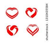 heart design logo vector... | Shutterstock .eps vector #1310435584