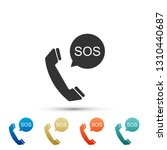 sos call icon isolated on white ... | Shutterstock .eps vector #1310440687