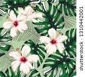 tropical palm leaves  white... | Shutterstock .eps vector #1310442001
