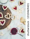 heart shaped linzer cookies... | Shutterstock . vector #1310469401