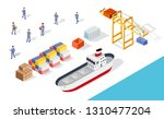 isometric port cargo ship cargo ... | Shutterstock .eps vector #1310477204