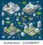 Isometric Set Module City With...