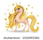 pony unicorn with bow tie  big... | Shutterstock .eps vector #1310492381