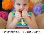 kid holding stress relief grape ...   Shutterstock . vector #1310502344