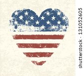 heart shaped american flag.... | Shutterstock .eps vector #131052605