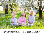kids with bunny ears on easter...   Shutterstock . vector #1310586554