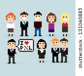 Pixel Art Office People  Vecto...