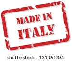 Red rubber stamp vector of Made In Italy - stock vector