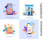 online store. online city... | Shutterstock .eps vector #1310650391