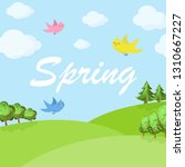 spring cartoon landscape with... | Shutterstock .eps vector #1310667227