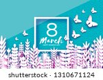 8 march. origami spring flowers....   Shutterstock .eps vector #1310671124