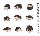different cartoon hedgehog set. ... | Shutterstock .eps vector #1310698694