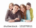 family with children on a white ... | Shutterstock . vector #131070011