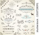 ornate retro labels  flourishes ... | Shutterstock .eps vector #1310728391