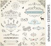 ornate retro labels  flourishes ... | Shutterstock .eps vector #1310728391