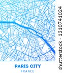 vector city map of paris with... | Shutterstock .eps vector #1310741024