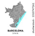 vector city map of barcelona... | Shutterstock .eps vector #1310747261