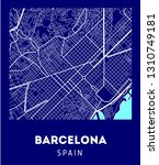 city map of barcelona with well ... | Shutterstock . vector #1310749181