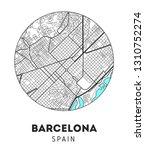 vector city map of barcelona... | Shutterstock .eps vector #1310752274