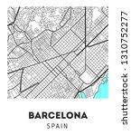 vector city map of barcelona... | Shutterstock .eps vector #1310752277