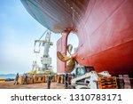 over hull dry dock of the... | Shutterstock . vector #1310783171