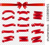 red ribbon and bow transparent... | Shutterstock . vector #1310808401