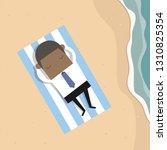 sleeping african businessman at ... | Shutterstock .eps vector #1310825354