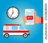 call the ambulance. map with... | Shutterstock .eps vector #1310828054