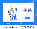 flier traveler using onboard... | Shutterstock .eps vector #1310850911