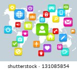background  with social media... | Shutterstock .eps vector #131085854