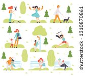 people walking  doing sports ... | Shutterstock .eps vector #1310870861
