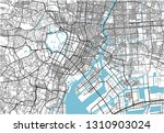 black and white vector city map ... | Shutterstock .eps vector #1310903024