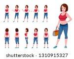 gym girl character turnaround... | Shutterstock .eps vector #1310915327