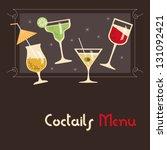 coctails menu card design   Shutterstock .eps vector #131092421