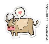 sticker of a cartoon cow   Shutterstock .eps vector #1310949227