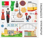 set with portuguese symbols and ... | Shutterstock .eps vector #1310960561
