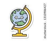 sticker of a cute cartoon globe ... | Shutterstock .eps vector #1310986427