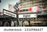 street sign digital vs analogous | Shutterstock . vector #1310986637