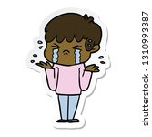 sticker of a cartoon boy crying ... | Shutterstock .eps vector #1310993387