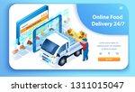 24 7 online food delivery... | Shutterstock .eps vector #1311015047