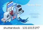 buying vacuum cleaner. online... | Shutterstock .eps vector #1311015197