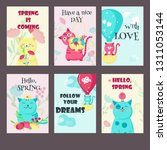 vector set of spring cards with ... | Shutterstock .eps vector #1311053144