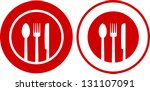 two icons with plate  fork ... | Shutterstock .eps vector #131107091