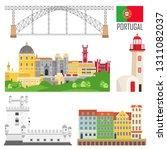 portugal set of landmark icons... | Shutterstock .eps vector #1311082037