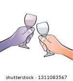 clinking wine glasses and hands ... | Shutterstock .eps vector #1311083567
